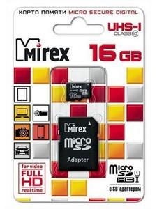 Флеш карта microSD 16GB Mirex microSDHC Class 10 UHS-I