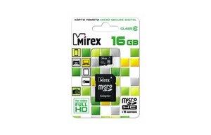 Флеш карта microSD 16GB Mirex microSDHC Class 10 UHS-I (SD адаптер)