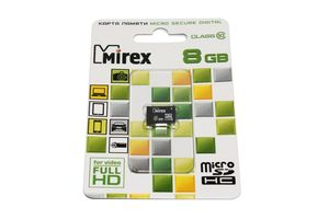 Флеш карта microSD 8GB Mirex microSDHC Class 10