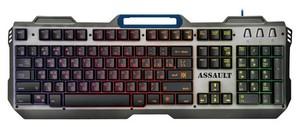 Проводная игровая клавиатура Assault GK-350L RU,радужная,метал